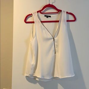 White blouse tank with zipper